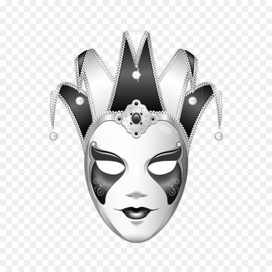 Joker mask black and white masque png
