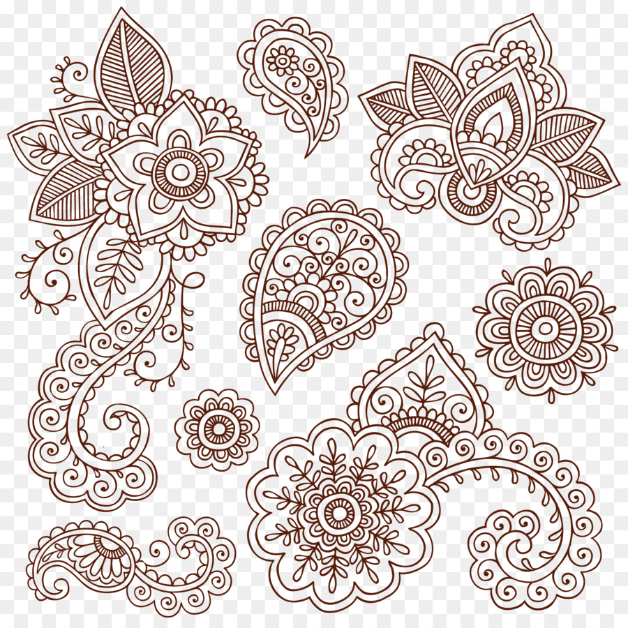 Paisley Flowers Henna Tattoo Design: Black Circle Png Download