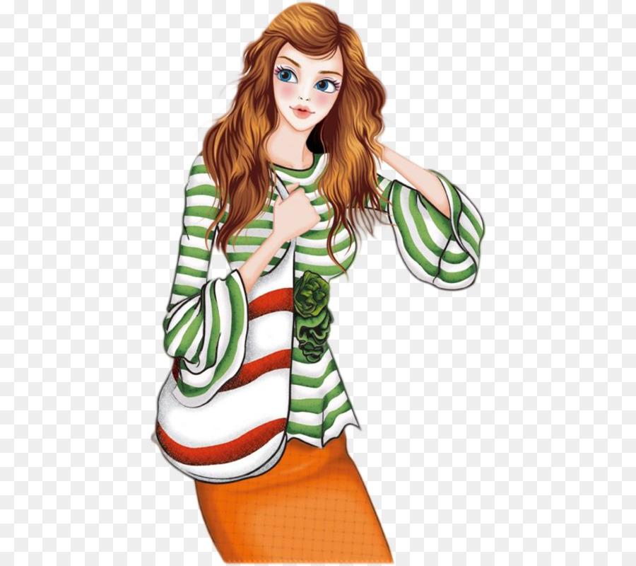 Female Cartoon Illustration Cartoon Beautiful Brown Hair Beauty