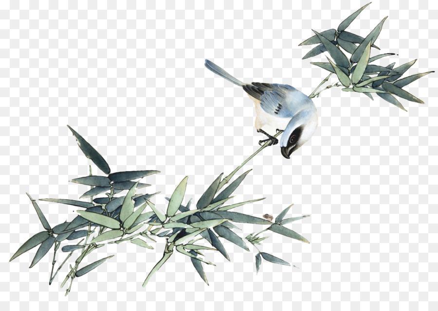 Poster çin Yeni Yılı Bahar çin Mürekkep Boyama Tarzı Bambu Kuş Png