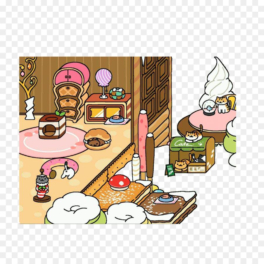 Neko Atsume Cartoon-Zeichnung - es gibt leckere Süßigkeiten Häuser ...