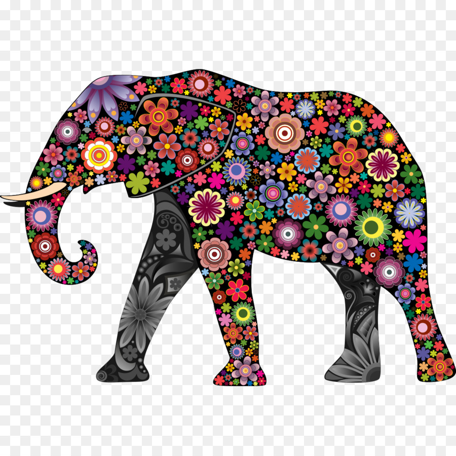 Elephant Wall Decal Colorful Animals Sticker   Color Elephant
