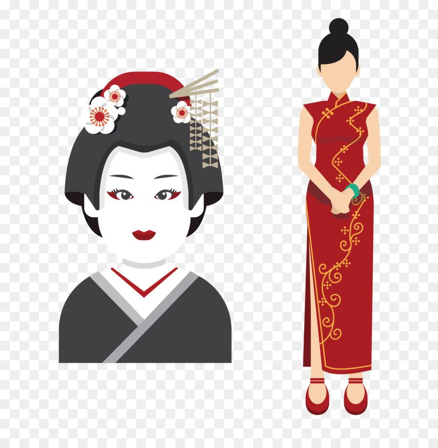 Japón Icono El Cheongsam Chino Mujer Con Geisha Japonesa Png