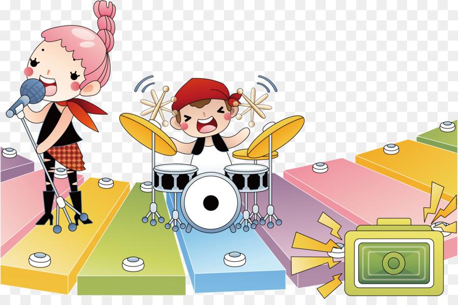 Schlagzeug Illustration Regal Drum Cartoon Comic Poster