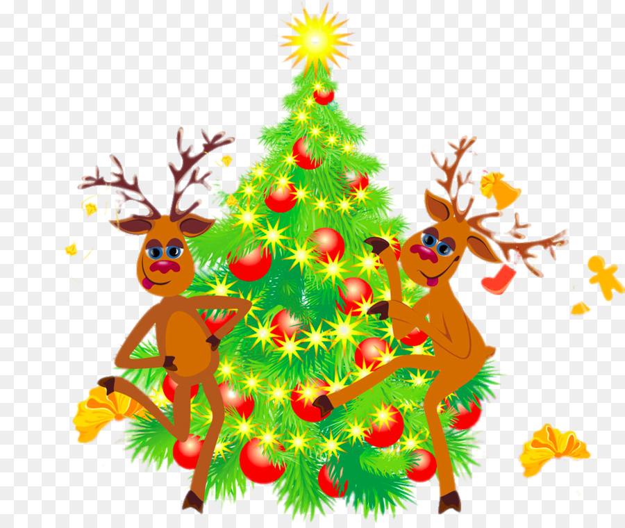 Rentier Weihnachtsmann Weihnachtsclip Art Zwei Antilopen