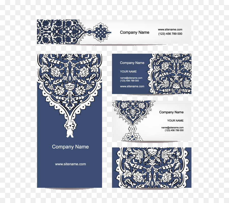 Business card Ornament Advertising - 5 blue pattern business cards ...