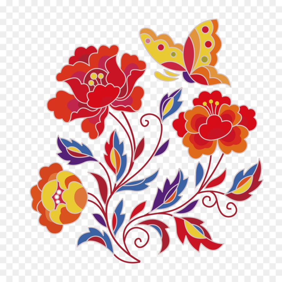 Flower Sketch - Colored floral pattern png download - 1500*1500 ...