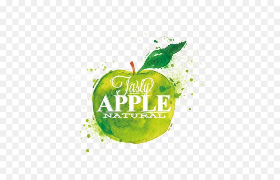 Apple Poster Dipinto Ad Acquerello Di Frutta Verde Verde Mela