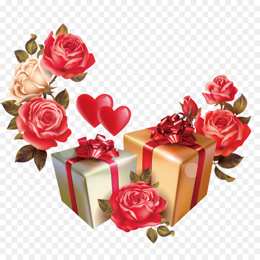 Valentines Day Gift Flower Box Clip Art Gift Png Download 984