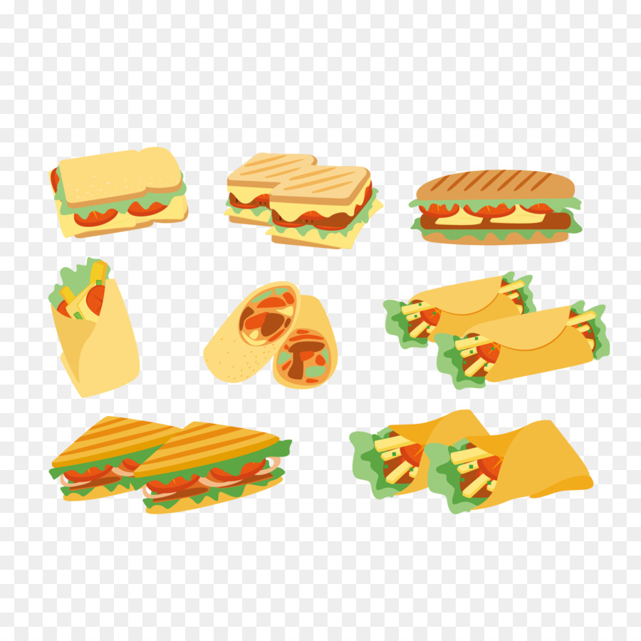 Panini Ham sandwich Club sandwich Hamburger - Vector variety of ...