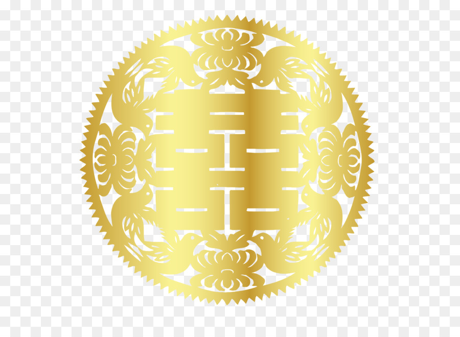 double happiness gold vector exquisite golden circle hi word png