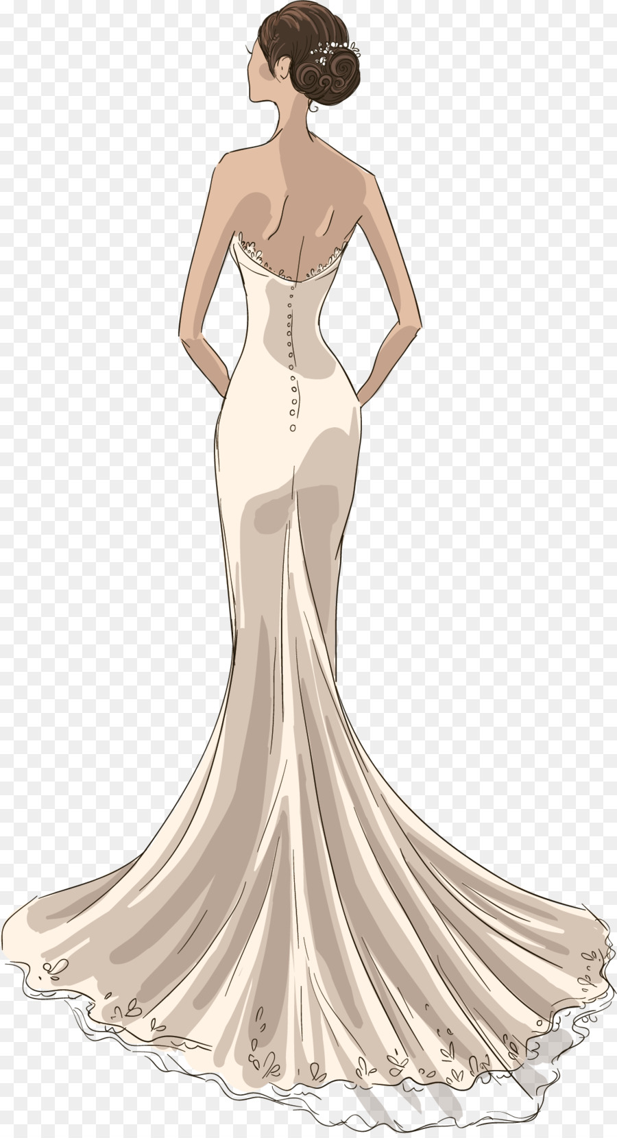Wedding dress Drawing Model - White wedding vector png download ...