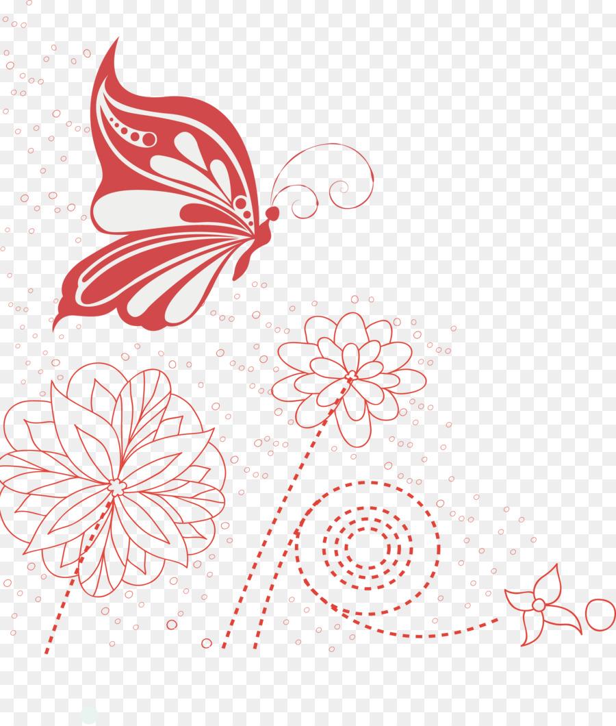 Red De Mariposas De Dibujo Pintados A Mano De La Decoración Floral