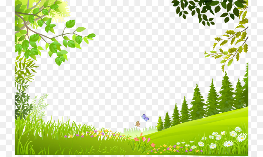 nature landscape cartoon trees plants green grass background
