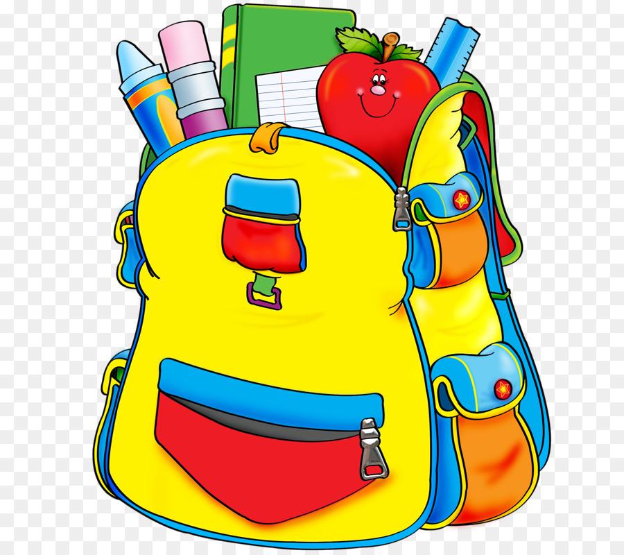 Student school supplies first grade fourth grade cartoon - Clipart cartable ...