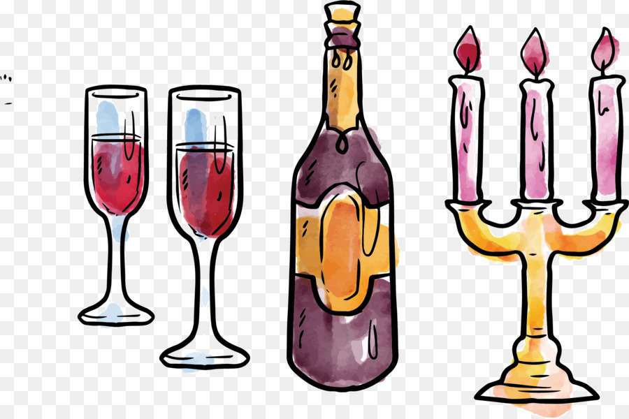 christmas drawing animation illustration red wine candle - Wine Christmas