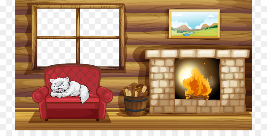 Fireplace Living Room Royalty Free Stock Photography Cartoon Warm