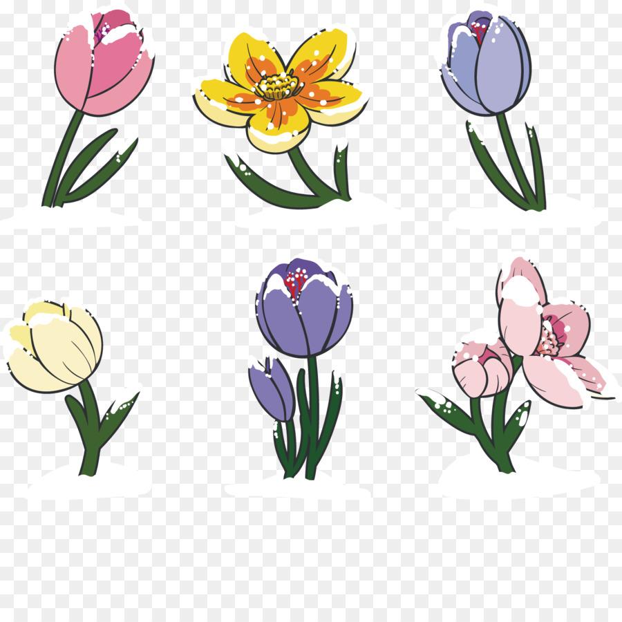 Tulip Floral Design Flower Clip Art Beautiful Hand Painted Flower