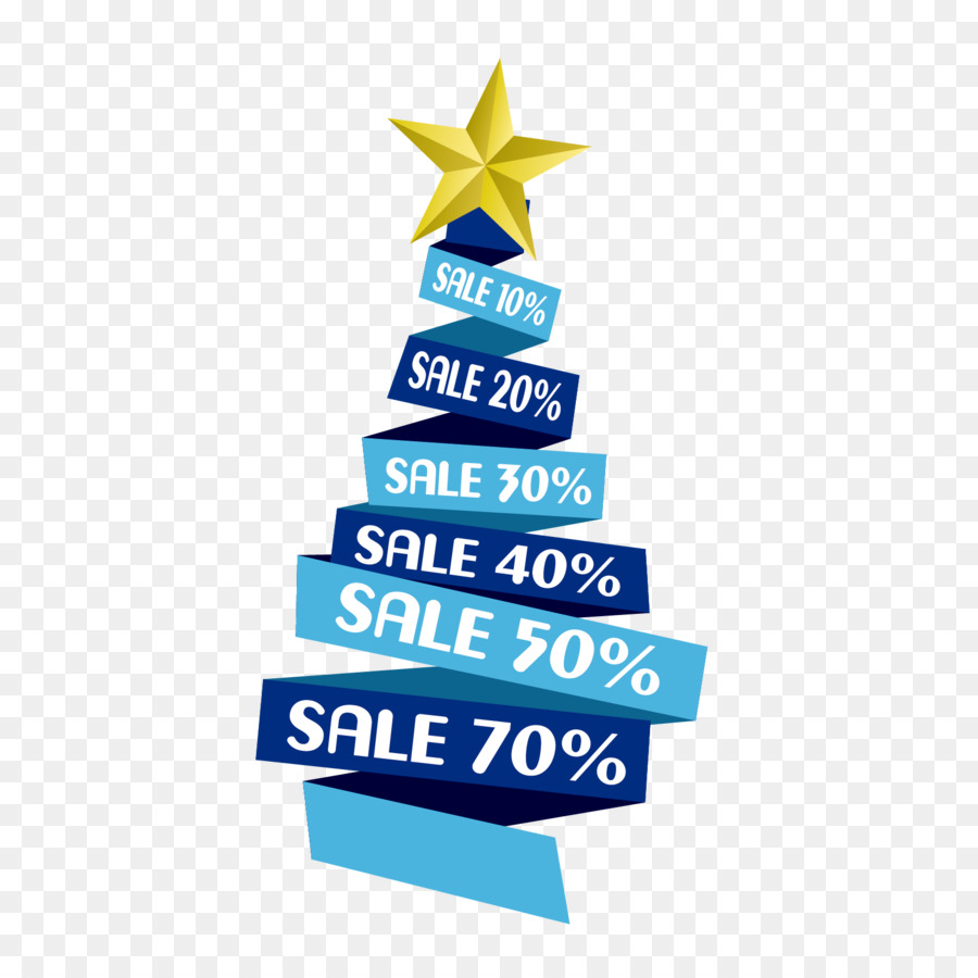 Christmas tree Discounts and allowances Ribbon - Discount blue ...