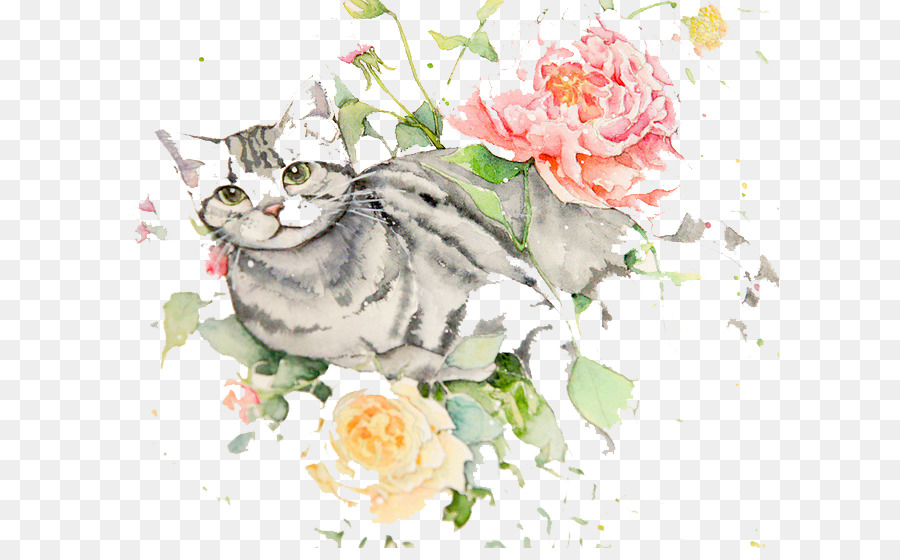 Watercolour Flowers Cat Watercolor painting Drawing - Watercolor cat ...