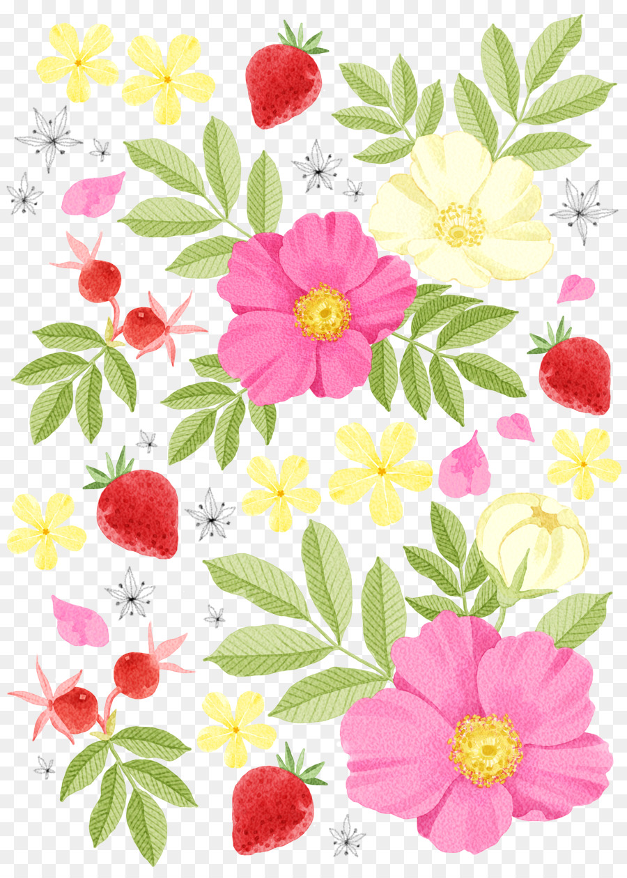 Watercolor Painting Drawing Illustration Flowers Strawberry