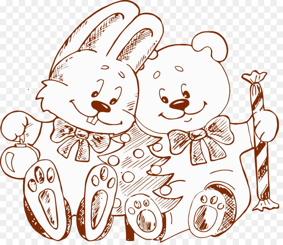 Menggambar Ilustrasi Tangan Ditarik Sketsa Beruang Kelinci