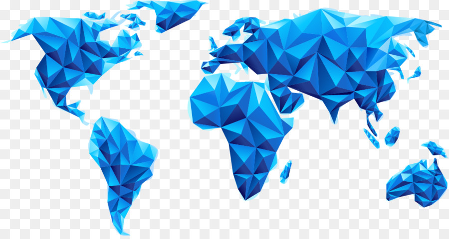 Globe World Map Blue Geometric Dimensional Map Png Download 975