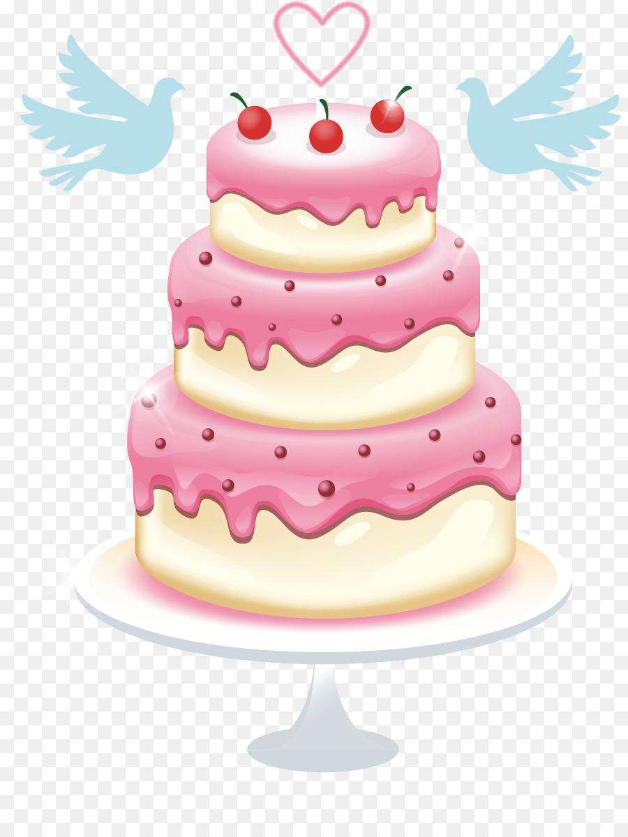 Birthday cake Wedding cake Dobos torte Layer cake - Vector Hand ...