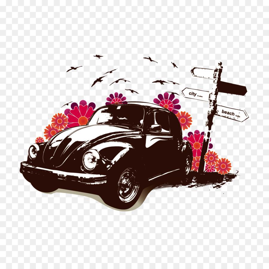 Charming Volkswagen Beetle Car Volkswagen New Beetle Poster   Vector Car And Flowers