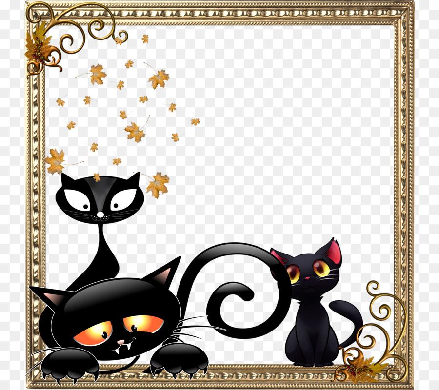 Black cat Pattern - Cartoon cat patterns Border png download - 800 ...