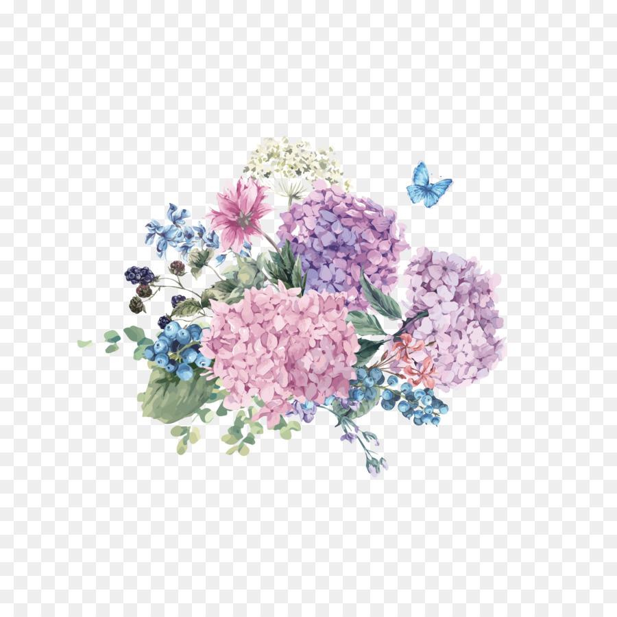 Hydrangea Flower Watercolor painting Illustration - Butterfly flowers hand painted free to pull