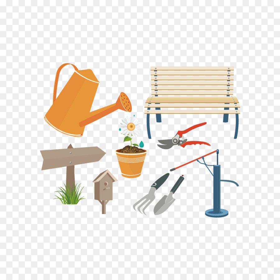 Cartoon Garden   Vector Gardening Tools