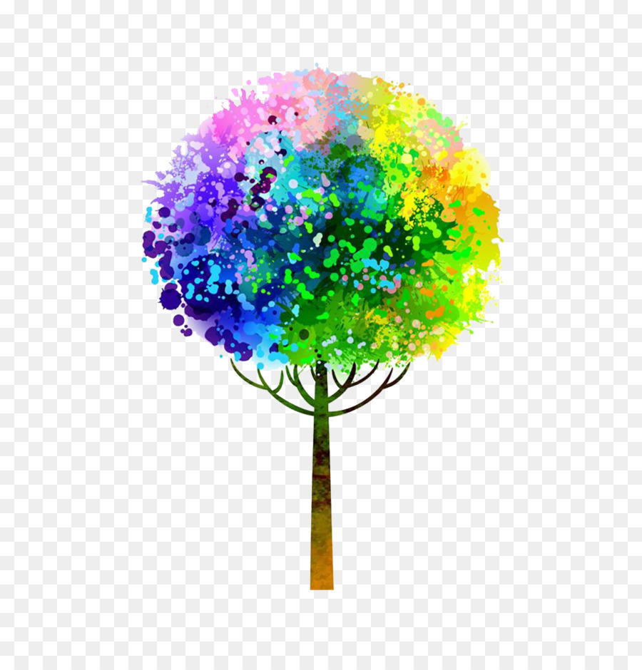 Watercolor painting Tree - Colorful tree png download - 1005*1036 ...