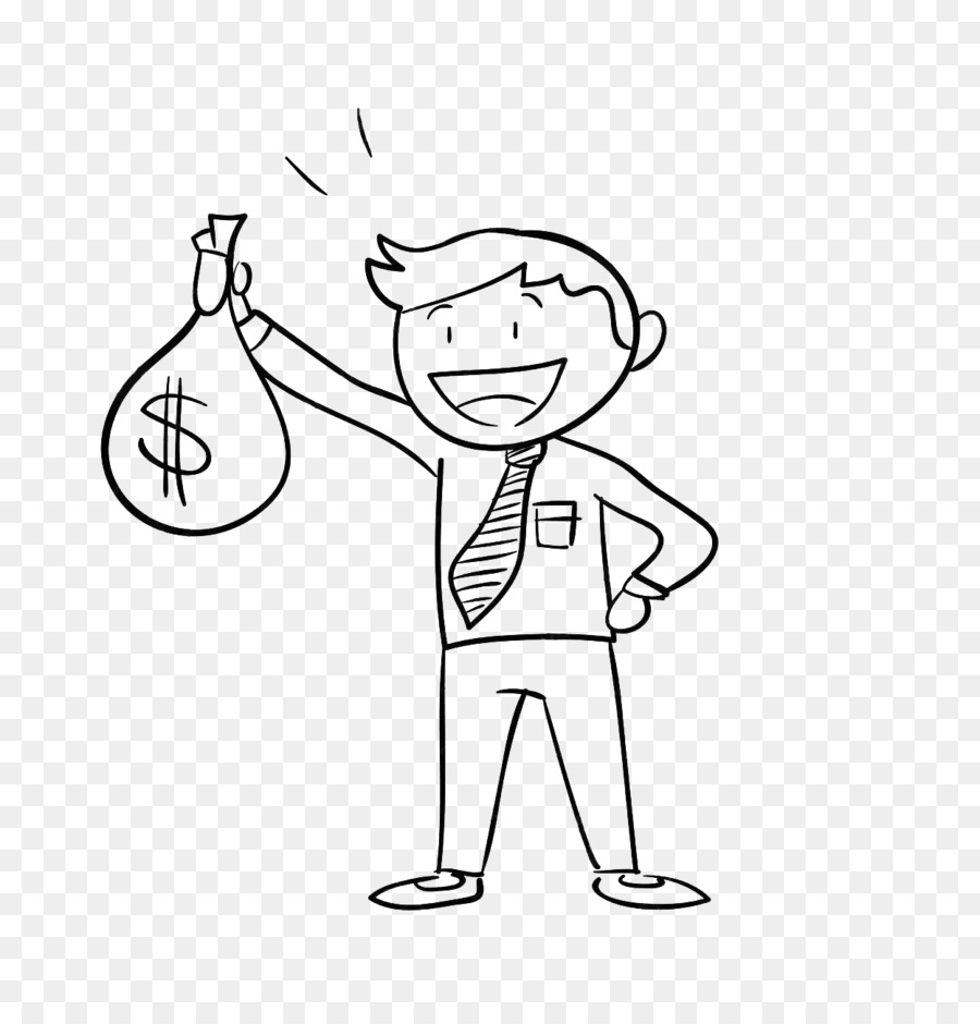 Line Drawing Money : Money bag holding company illustration draw a man with