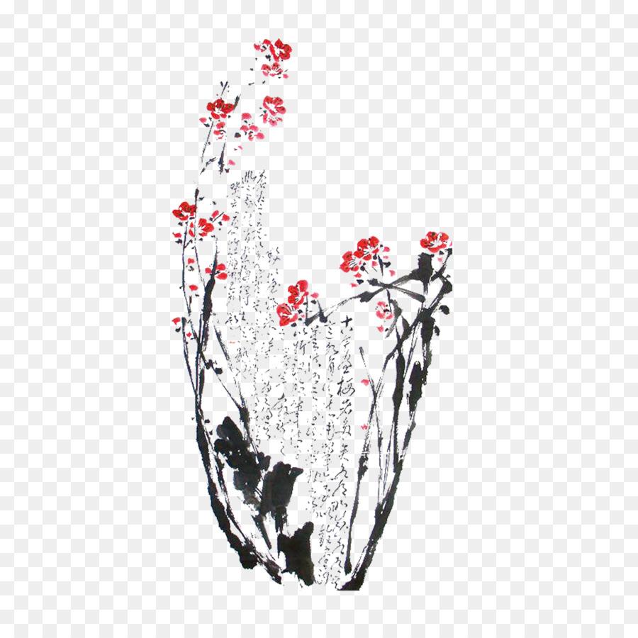 Suluboya Resim Mürekkep Boyama Erik çiçeği Küçük Resim Yıkayın