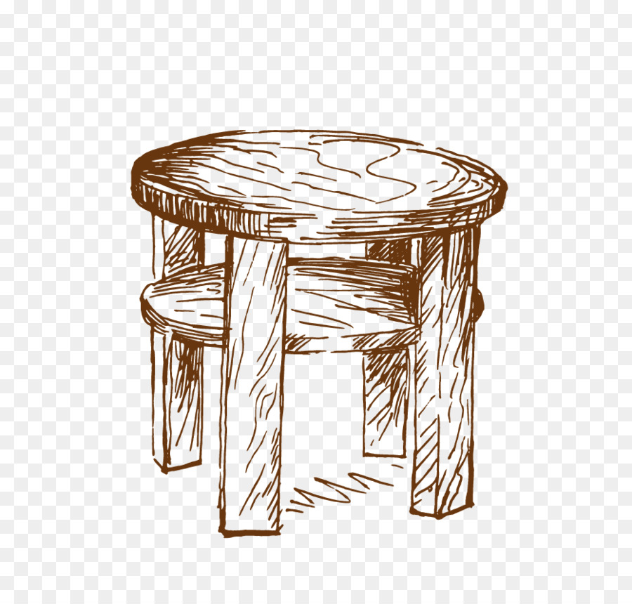 Mesa redonda Dibujo de Muebles - Pintado a mano de madera de heces ...