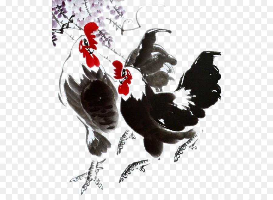 Tavuk Horoz Gongbi Mürekkep Boyama çin Resim Yıkayın Iki çinli