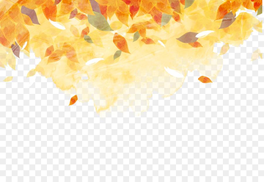 De oro de Otoño de pintura de Acuarela color de las hojas en Otoño ...