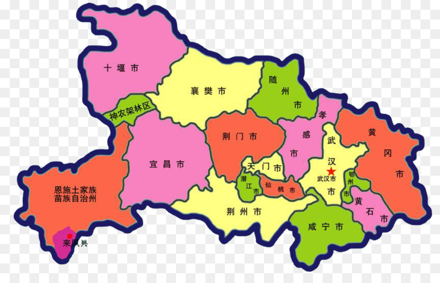 Huangzhou District Laifeng County China - Cartoon map of Hubei png on
