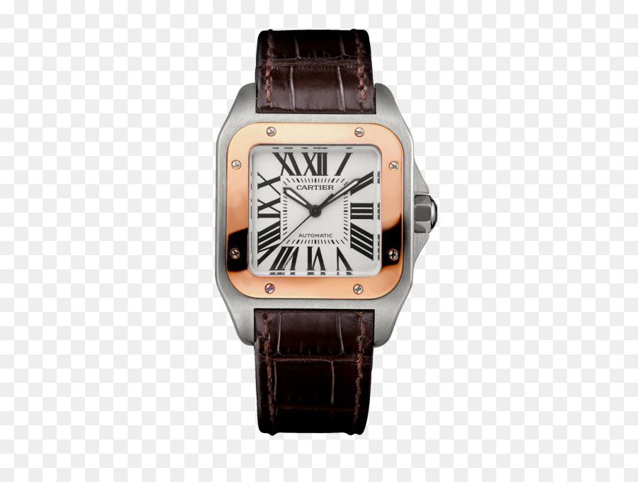 Cartier Tank Watch Strap Leather Watches Women Gold Coffee Color Table