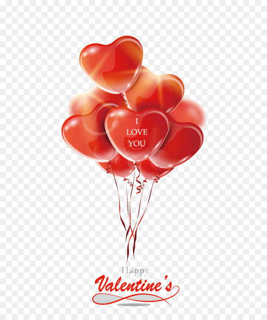 Valentines Day Greeting Card Balloon Heart Red Vector Cartoon