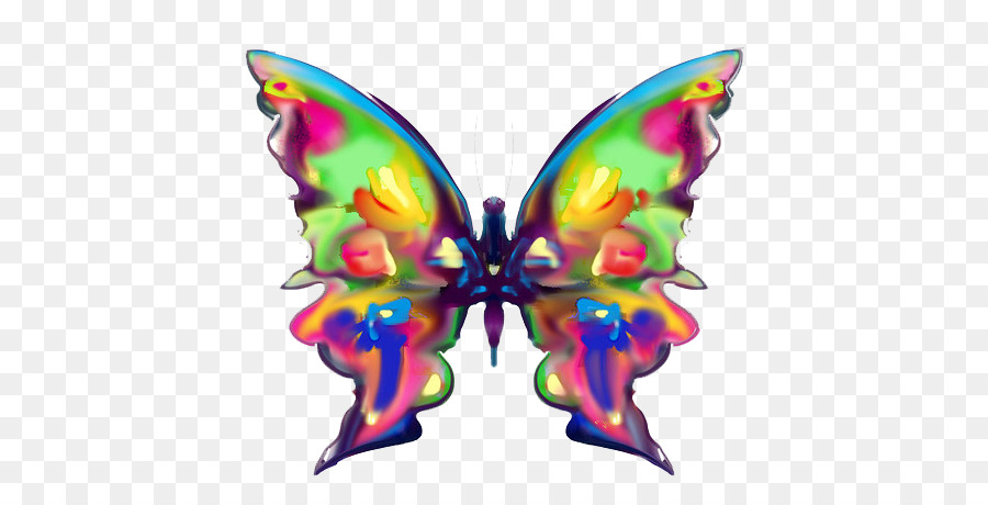 Kelebek Gökkuşağı Boyama Renk Küçük Resim Bir Kelebek Png Indir