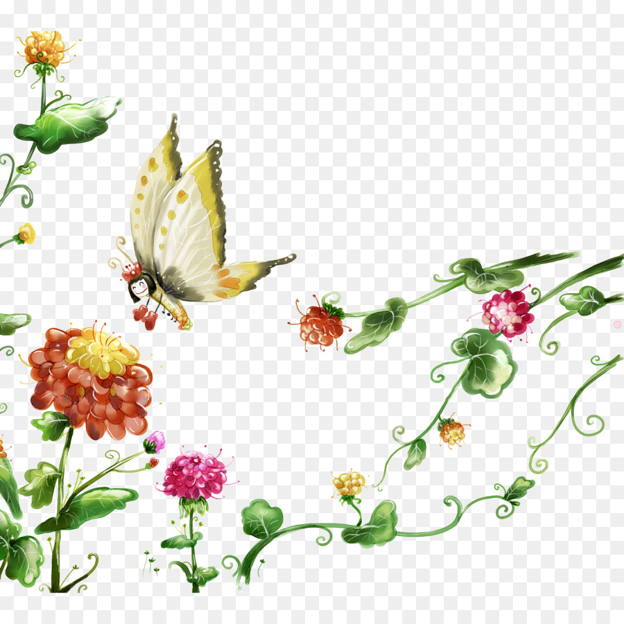 butterfly flower wallpaper - butterfly pattern png download - 2362