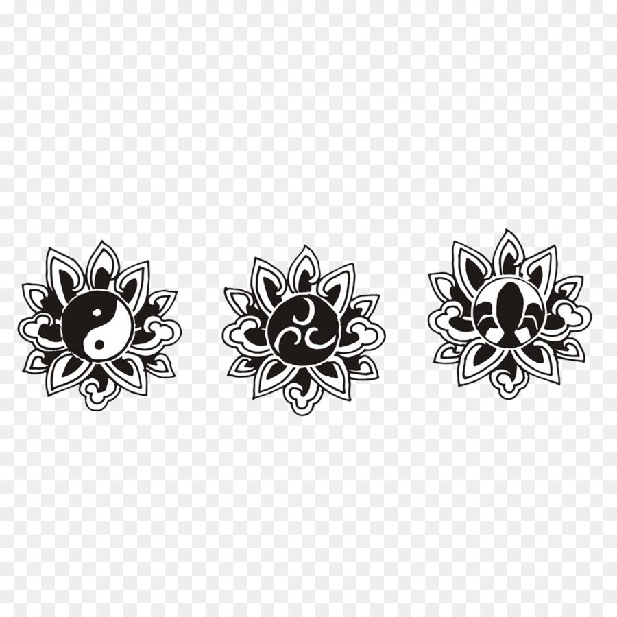 Black And White Motif Buddhist Lotus Png Download 15001500