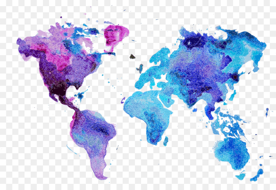 World Map Watercolor Painting Wall Decal