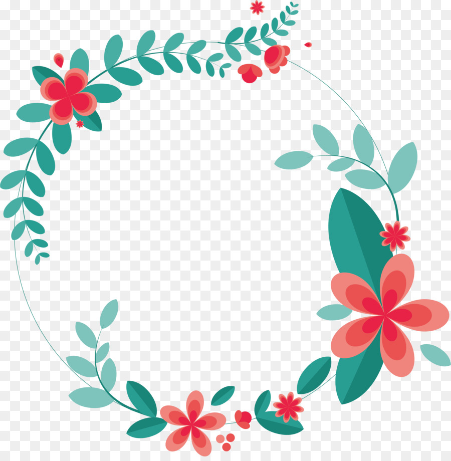 Paper Wreath Flower Leaves Splicing Love Ring Png Download 2365
