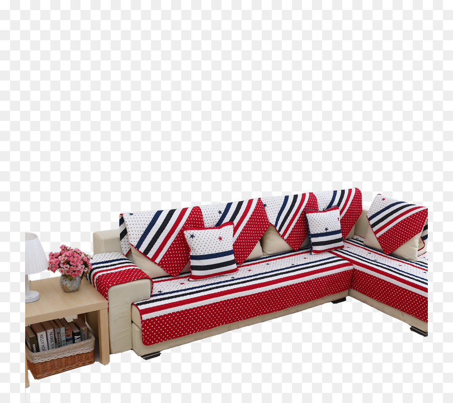 Sofa bed Couch Blue Furniture - Red and blue striped sofa cushion ...
