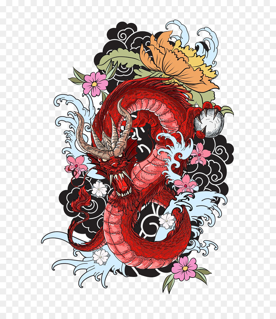Tattoo colouring book Dragon Drawing - Red dragon png download - 725 ...