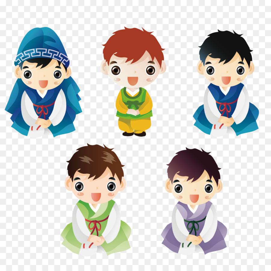 Korea Selatan Ilustrasi Kartun Semua Jenis Pakaian Pria Unduh