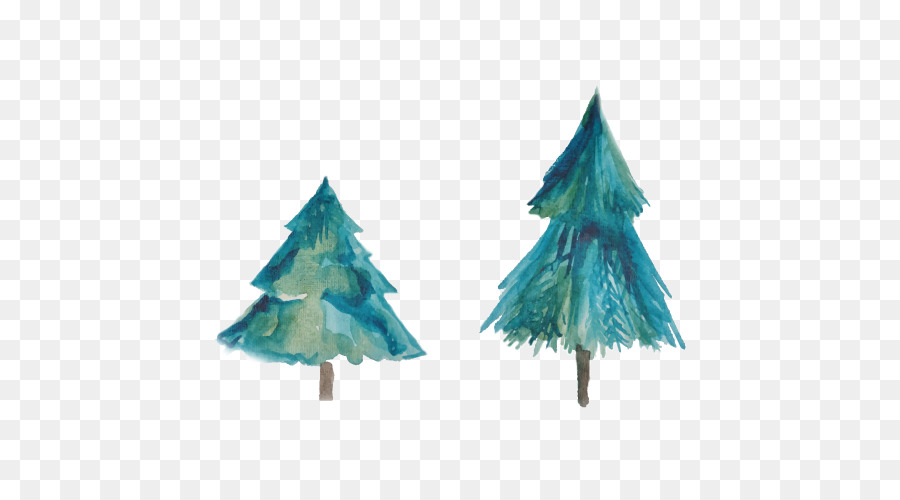 Christmas Tree Watercolor Painting Two Christmas Tree Png Download